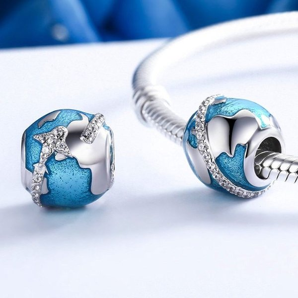 チャーム ブレスレット バングル用 BAMOER バモア BAMOER New Arrival 925 Sterling Silver Beautiful Planet Earth Blue Bead Charm for Women Snake Bracelet