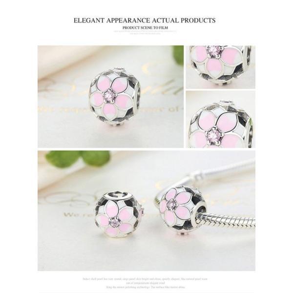 チャーム ブレスレット バングル用 BAMOER バモア BAMOER New Arrival 925 Sterling Silver Magnolia Bloom Pale Cerise Enamel Ball Charms For Women Bracelet