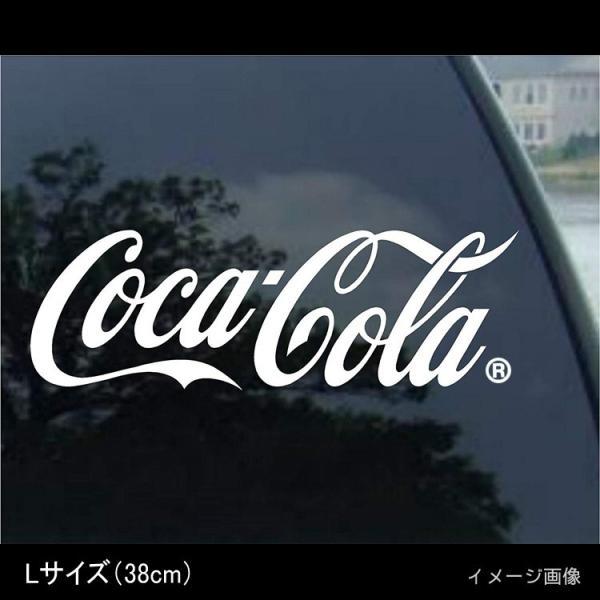 コカ・コーラブランド カッティングステッカー (L) ホワイト COCA-COLA BRAND ロゴステッカー アメリカ雑貨