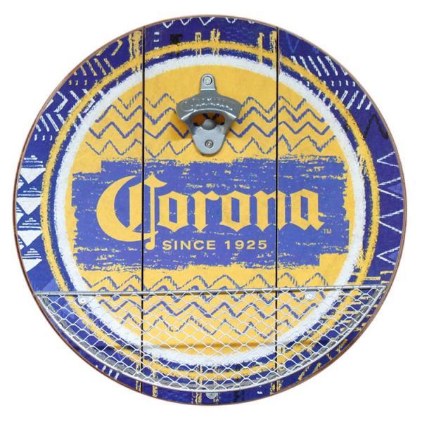 栓抜き 壁面用 CORONA EXTRA コロナ エクストラ キャップキャッチャー付き ウッディ ボトルオープナー 直径35.5cm 木製 看板 店舗 バー インテリア アメリカ雑貨