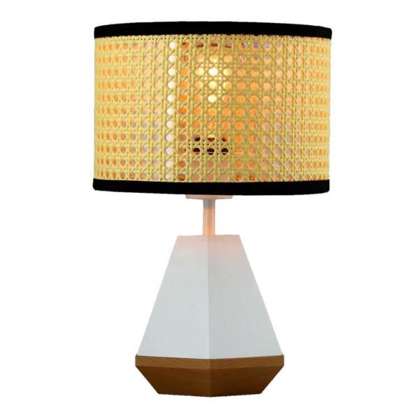"""照明 AMP テーブルランプ FRUSTUM """"ホワイト"""" AMP-L034 直径25×高さ38cm ポリレジン、木、PVC、スチール製 卓上 ベッドサイドランプ おしゃれ 北欧 寝室 リビン"""