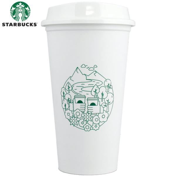 STARBUCKS スターバックス タンブラー キャップ付き 473ml / 16oz (イラスト柄) 北米スタバグッズ スタバ マイボトル アメリカン雑貨
