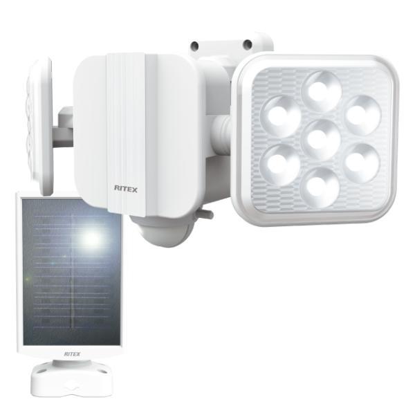 ムサシ(musashi) RITEX 5Wx2灯 フリーアーム式LEDソーラーセンサーライト S-220L