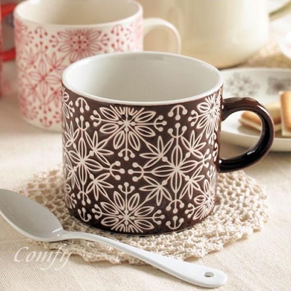 マグカップ フラワーモザイク マグカップ ダークブラウン 北欧雑貨 アンティーク調|comfy-shop