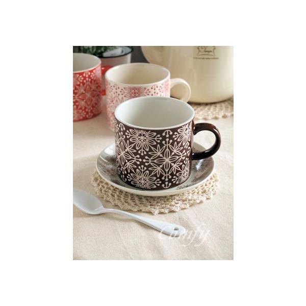 マグカップ フラワーモザイク マグカップ ダークブラウン 北欧雑貨 アンティーク調|comfy-shop|02