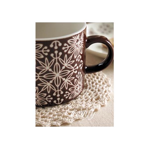 マグカップ フラワーモザイク マグカップ ダークブラウン 北欧雑貨 アンティーク調|comfy-shop|03