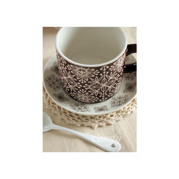 マグカップ フラワーモザイク マグカップ ダークブラウン 北欧雑貨 アンティーク調|comfy-shop|06