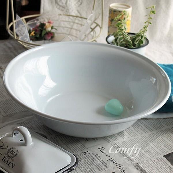 ホーロー雑貨 ホーロー 洗面器 ホワイト 琺瑯 北欧雑貨 カントリー雑貨 キッチン雑貨 ナチュラル雑貨  comfy-shop