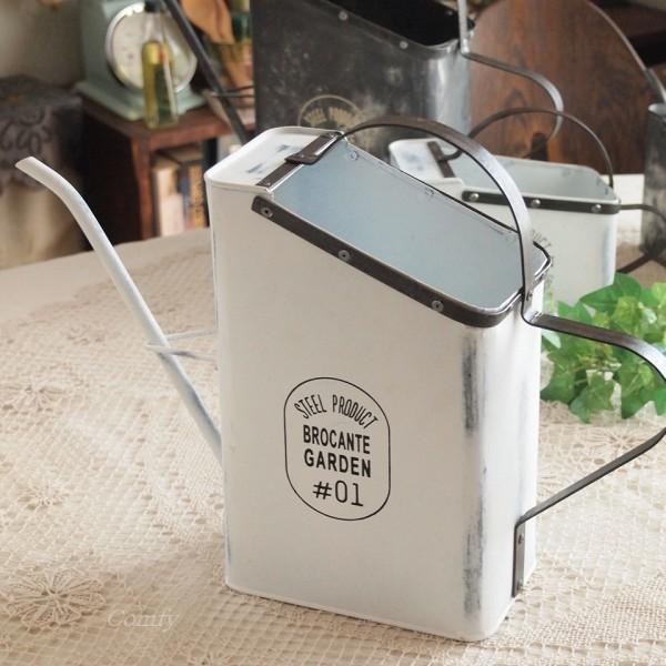 ガーデニング雑貨 ジョウロ ブリキ缶 L ホワイト
