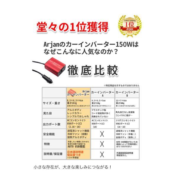 インバーター シガーソケット コンセント USB チャージャー 12V 車載 携帯 充電器 車中泊グッズ|commers-shop|06