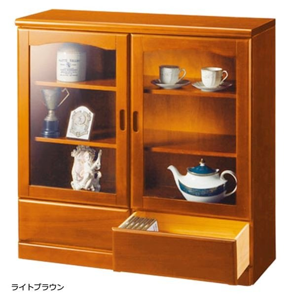 ガラス扉付きサイドボード 木製(天然木) 〔2: 幅90cm/2杯〕 ライトブラウン