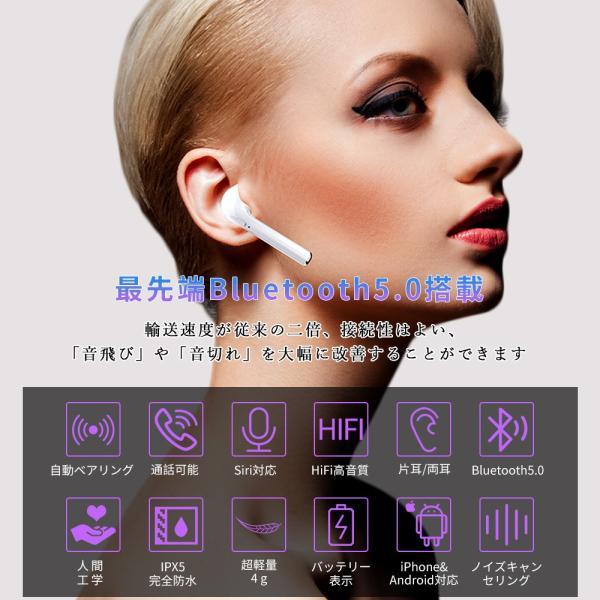 Bluetooth イヤホン ワイヤレスイヤホン bluetooth5.0 ワイヤレス イヤホン 高音質 iphone Android ブルートゥース イヤホン 両耳 スポーツ 父の日 プレゼント|comomo-1s|02