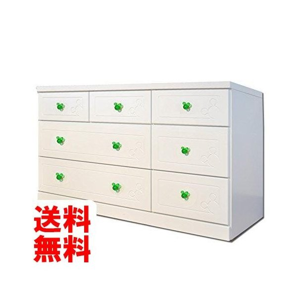 アルファタカバ ディズニー家具シリーズ セレクトミッキー 120cm幅3段ホワイト 取っ手ミッキーグリーンクリスタル