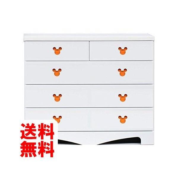 アルファタカバ ディズニー家具ハイチェスト100-4ポップミッキー(ホワイト)取っ手オレンジ