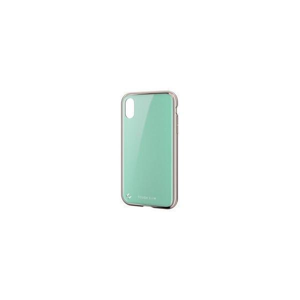 エレコム PM-A18CTSGMBUL TOUGH SLIM 女子向 サイドメッキ ライトブルー〔iPhone XR用〕の画像