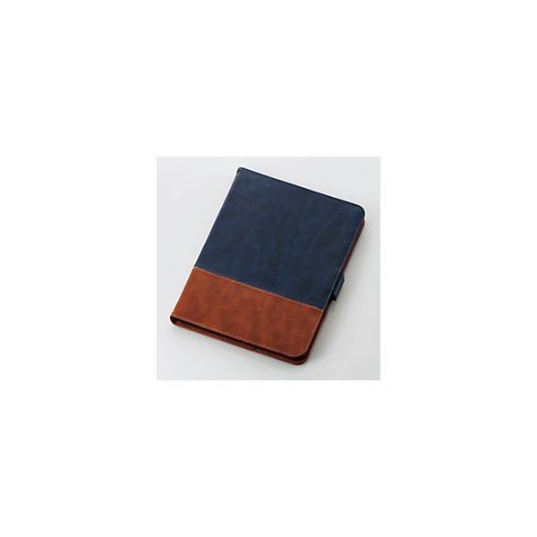 エレコム 11インチ iPad Pro ケース TB-A18MPLFDTBU ブルー×ブラウンの画像