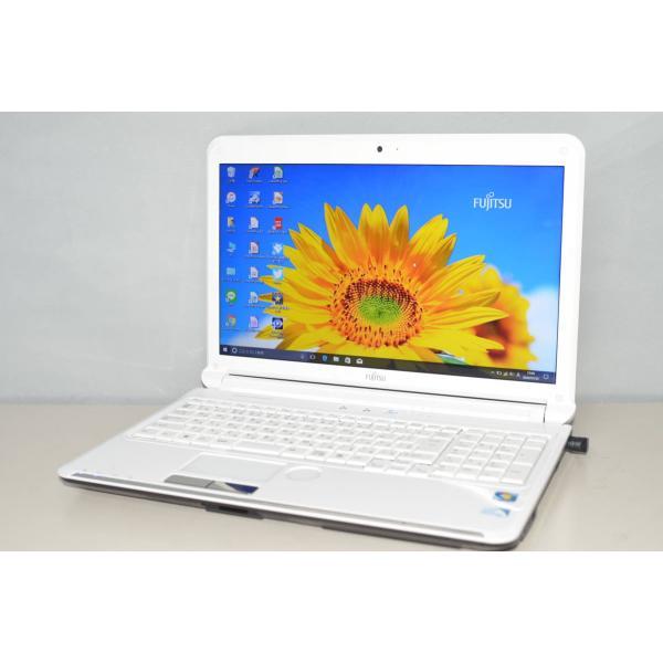 中古ノートパソコン Windows10+office 大容量HDD500GB 富士通 AH52 C Pemtium 販売 15.6インチ 便利なソフト多数 DVDマルチ 無線内蔵 本物◆ 4GB HDMI