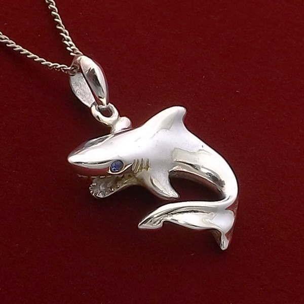 シャーク サメ 鮫 ブルーストーン ハワイアンジュエリー ネックレス チェーン メンズ レディース シルバー925 シンプル ブランド おすすめ 人気 送料無料