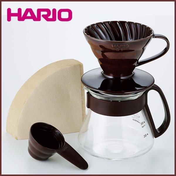 RoomClip商品情報 - 【HARIO(ハリオ)】セラミック(陶器)ドリッパー&コーヒーサーバーセット ショコラブラウン 計量スプーン&ペーパーフィルター付き◆コーヒー/コー