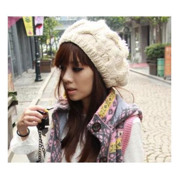 ニットベレー帽 ボンボン付き レディース ベーシック ニット帽 ベレー帽 帽子 レディス かわいい 防寒 防風|coollife|02