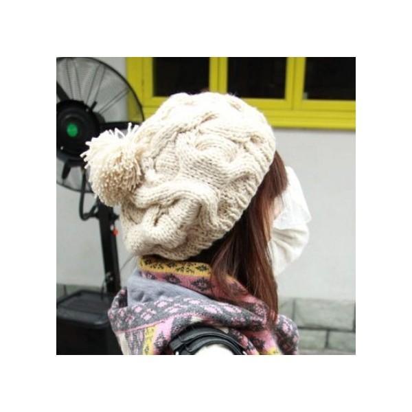 ニットベレー帽 ボンボン付き レディース ベーシック ニット帽 ベレー帽 帽子 レディス かわいい 防寒 防風|coollife|03