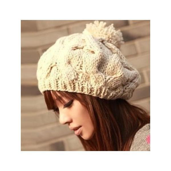ニットベレー帽 ボンボン付き レディース ベーシック ニット帽 ベレー帽 帽子 レディス かわいい 防寒 防風|coollife|04