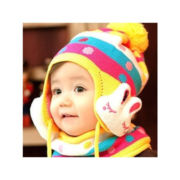 子供用ニット帽子 耳カバー 付きとマフラーのセット!赤ちゃん 幼児 子供 ベビー キッズ キャップ 帽子 ボンボン  ボア 男の子 女の子 兼用 防寒 防風 かわいい|coollife|02