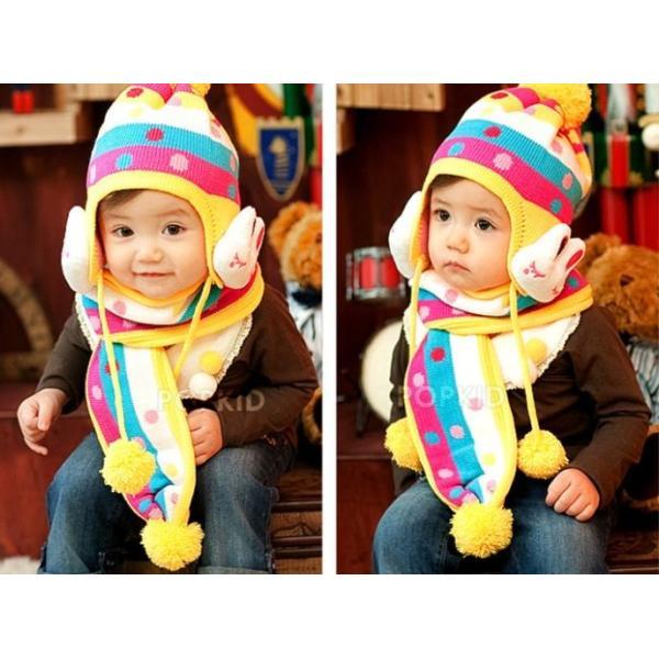 子供用ニット帽子 耳カバー 付きとマフラーのセット!赤ちゃん 幼児 子供 ベビー キッズ キャップ 帽子 ボンボン  ボア 男の子 女の子 兼用 防寒 防風 かわいい|coollife|03