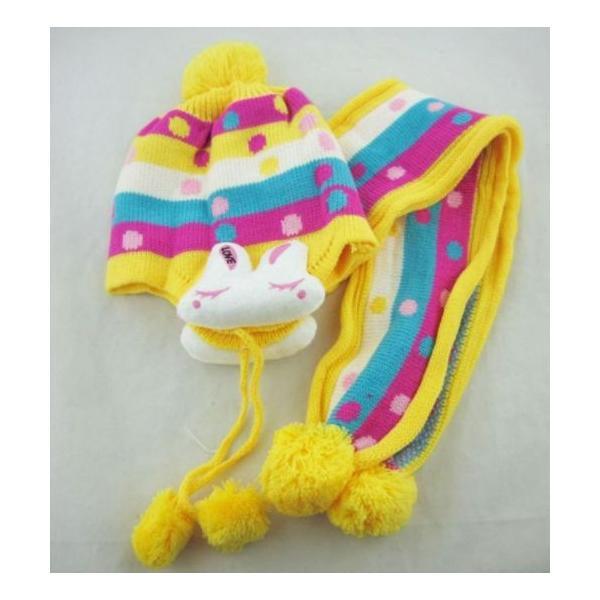 子供用ニット帽子 耳カバー 付きとマフラーのセット!赤ちゃん 幼児 子供 ベビー キッズ キャップ 帽子 ボンボン  ボア 男の子 女の子 兼用 防寒 防風 かわいい|coollife|04