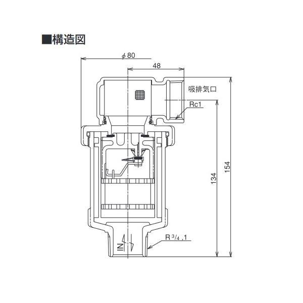 ベン 吸排気弁 AFV4N-F 25 AFV-4N型 標準品 (A)25(B)1 [【配送地域:東京のみ】♪□]|coordiroom|02