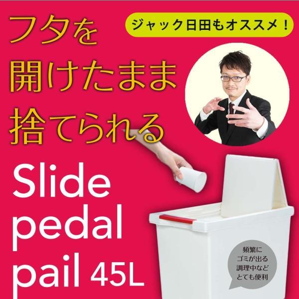 ゴミ箱 スライドペダルペール おしゃれ リビング 45L 赤 黒 黄緑|copa