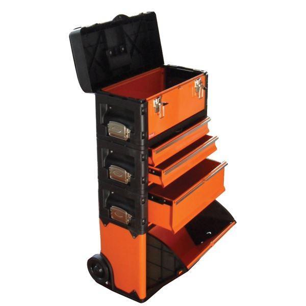 大人気(業務用2個セット) TRAD 合体式ツールチェスト/ツールボックス 〔5段〕 キャスター付 TRD-TC5 オレンジ/黒 〔DIY/大工道具〕