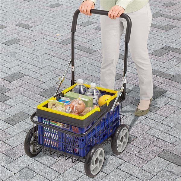 大人気キャリーカート/ショッピングカート 〔折りたたみ式カゴ付き〕 幅46.5cm 最大積載量約30kg スチール 〔買い物 農作業 ゴミ出し〕