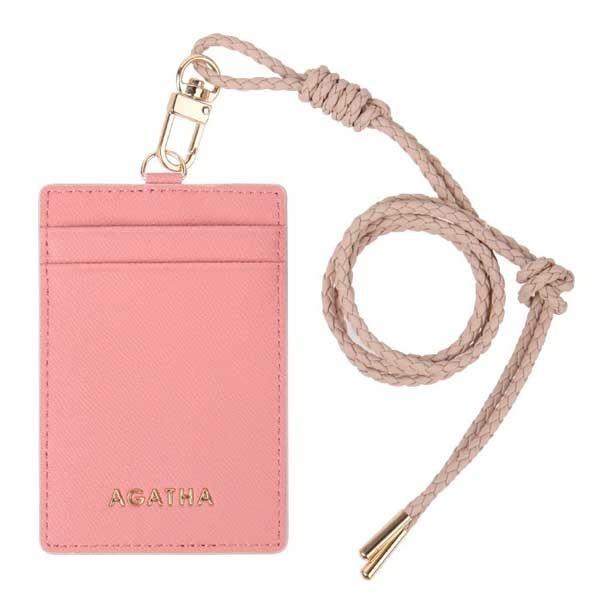 大人気AGATHA(アガタ)AGT211-324 レザー仕様のネックストラップ付カードケース ピンク