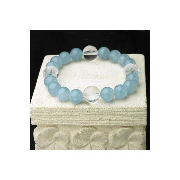 ネプチューンパワーストーン メンズブレスレット /アクアマリン&四神彫り水晶 天然石 送料無料|cornucopia|02