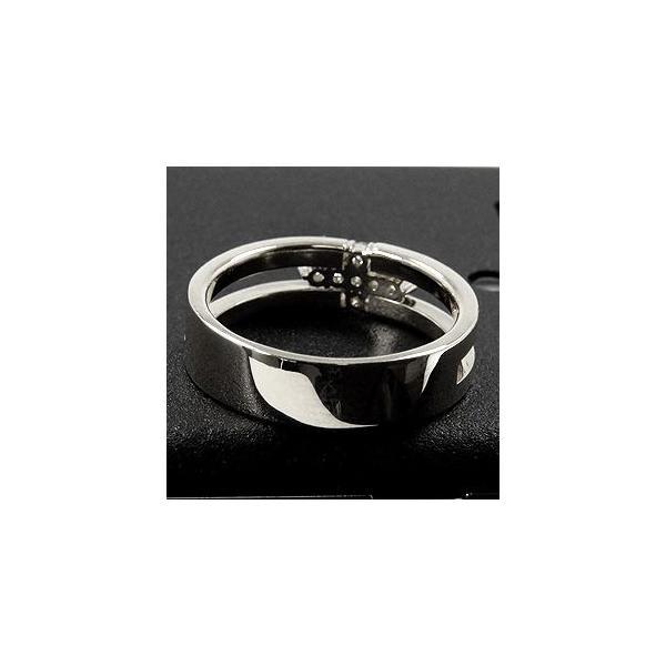 クロス十字架数付きダイヤモンドリング指輪天然ダイヤモンドホワイトゴールドリング