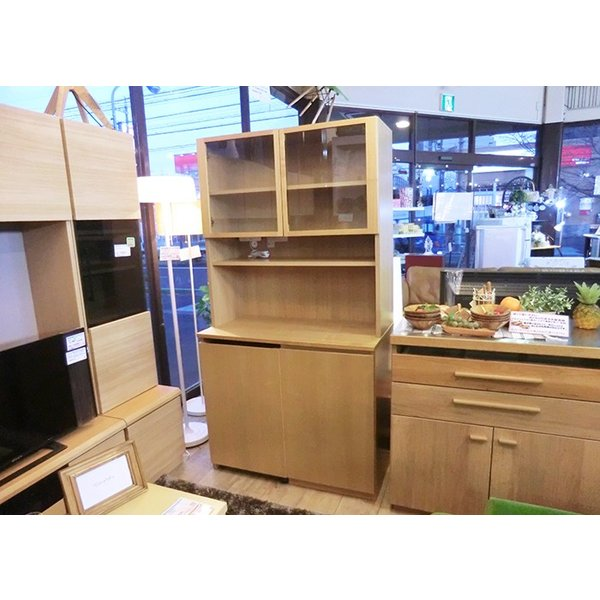 無印良品 MUJI タモ材 カップボード 食器棚 ワゴン付き ナチュラルスタイル ◎