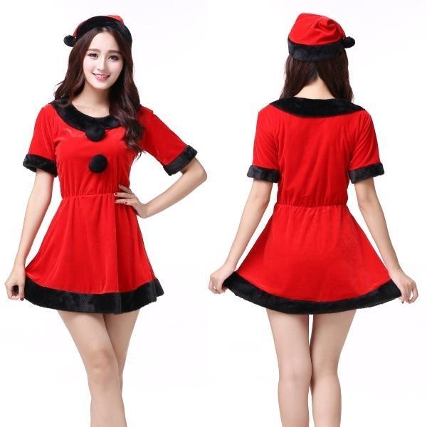 110589876bd 小悪魔カラーな赤×黒のサンタ風ワンピース コスプレ 可愛い クリスマス ...