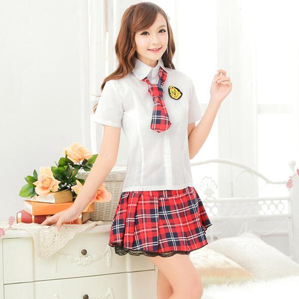 06eb61de807876 【送料無料SALE】ネクタイ付き 赤×紺チェックのラブリー制服 コスプレ 可愛い