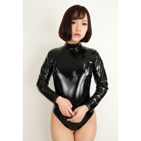 エナメル長袖レオタード/ブラック/wbb-3856