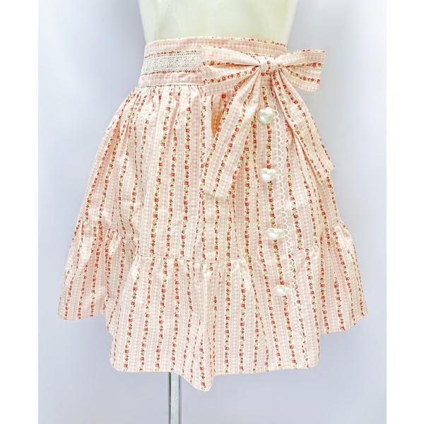 綿100% 花柄フレアスカート/ピンク/wbb-D00126