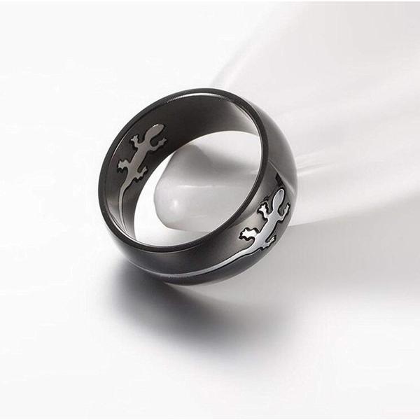 Y-YING 小さな守り神 サージカル ステンレス メンズ リング 指輪 富の象徴 男性用指輪 爬虫類 ゲッコー ヤモリ|cosmoszakkastore|03