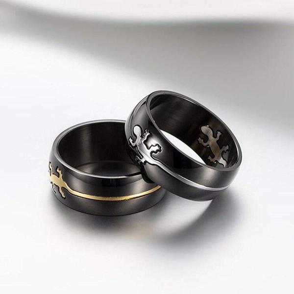 Y-YING 小さな守り神 サージカル ステンレス メンズ リング 指輪 富の象徴 男性用指輪 爬虫類 ゲッコー ヤモリ|cosmoszakkastore|04