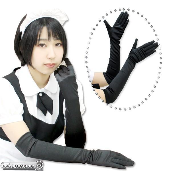 1201J▲【送料無料・即納】サテン手袋 色:黒 サイズ:F|cosplaymode