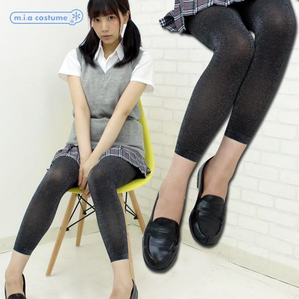 1258A▲【送料無料・即納】 TKF 50デニール ラメ入りレギンス 10分丈 色:クロ×シルバー サイズ:M〜L cosplaymode