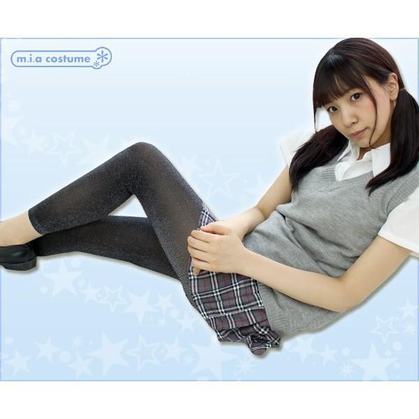 1258A▲【送料無料・即納】 TKF 50デニール ラメ入りレギンス 10分丈 色:クロ×シルバー サイズ:M〜L cosplaymode 05