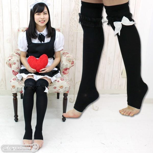 1261C▲【送料無料・即納】リボンレース付きトゥレスオーバーニー 色:ブラック×ホワイト サイズ:23-25cm|cosplaymode