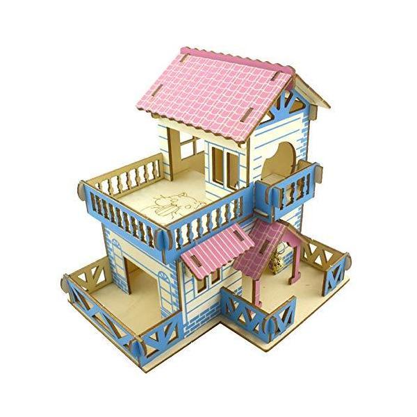 Yurika木製おもちゃハムスターハウス家小屋2階建てDIYドールハウス遊具?キットハムスターケージ3D立体別荘組立式ド