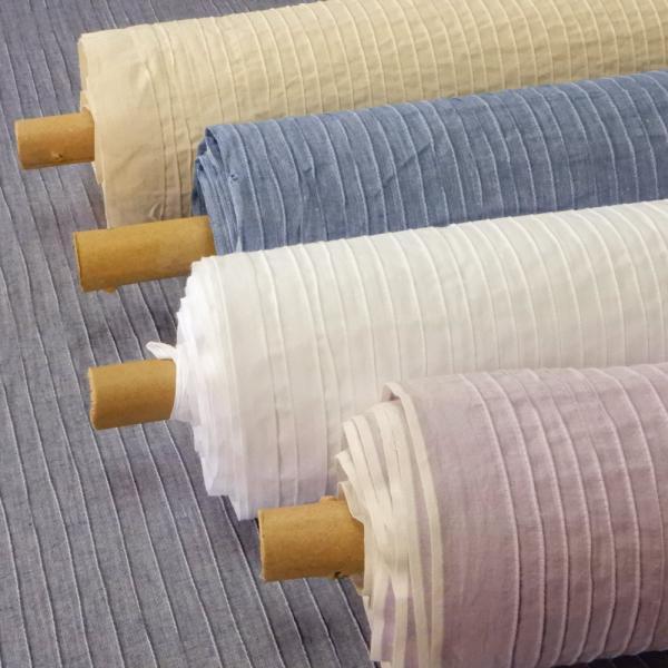 生地 無地 布 ピンタック ストライプ おしゃれ コットン 生成り 白 紺 ブルー ラベンダー 系 インド綿可 綿100% 布地 メール便1.5mまで可能
