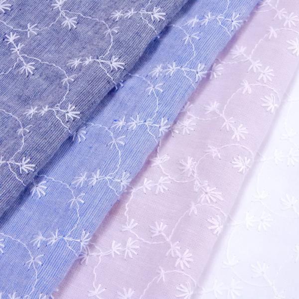 生地 インド綿 シャンブレー花の刺繍 布 レース 花柄 コットン 布地